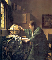The Astronomer is a painting finished about 1668 by the Dutch painter Johannes Vermeer. It is oil on canvas, and is on display at the Louvre, Paris. Portrayals of scientists were a favourite topic in 17th century Dutch painting and Vermeer's oeuvre includes both this astronomer and the slightly later The Geographer.