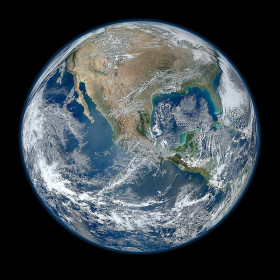"A ""Blue Marble"" image of the Earth taken from the Visible/Infrared Imager Radiometer Suite (VIIRS) instrument aboard NASA's Suomi NPP satellite. This composite image uses a number of swaths of the Earth's surface taken on January 4, 2012."