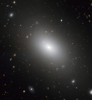 "This image of NGC 1132 was taken with Hubble's Advanced Camera for Surveys. This elliptical galaxy reveals the final result of what may have been a group of galaxies that merged together in the recent past. Another possibility is that the galaxy formed in isolation as a ""lone wolf"" in a universe ablaze with galaxy groups and clusters."