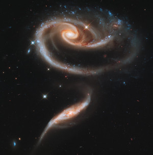 Arp 273, a photogenic group of interacting galaxies, lies in the constellation Andromeda and is roughly 300 million light-years away from Earth. This Hubble image shows a tenuous tidal bridge of material between the two galaxies that are separated by tens of thousands of light-years from each other. The larger of the spiral galaxies, known as UGC 1810, has a disk that is tidally distorted into a rose-like shape by the gravitational tidal pull of the companion galaxy below it, known as UGC 1813. The smaller, nearly edge-on companion shows distinct signs of intense star formation at its nucleus, perhaps triggered by the encounter with the companion galaxy.