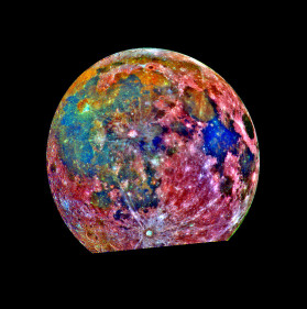 This image of the Moon was taken by the Galileo spacecraft as it passed by. It is a composite of images taken in three different colors. The color scheme is exaggerated to emphasise composition differences. Blue areas are titanium rich, orange areas are titanium poor and purple areas are iron poor. (Credit: Galileo Mission, JPL and NASA via Astronomy Picture of the Day)