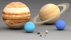 Planets size comparison. Planets of the Solar System to scale. Jupiter and Saturn (top row), Uranus and Neptune (top middle), Earth and Venus (bottom middle), Mars and Mercury.