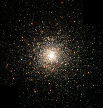 Globular Cluster M80. This stellar swarm is M80 (NGC 6093), one of the densest of the 147 known globular star clusters in the Milky Way galaxy. Located about 28,000 light-years from Earth, M80 contains hundreds of thousands of stars, all held together by their mutual gravitational attraction. Globular clusters are particularly useful for studying stellar evolution, since all of the stars in the cluster have the same age (about 15 billion years), but cover a range of stellar masses.