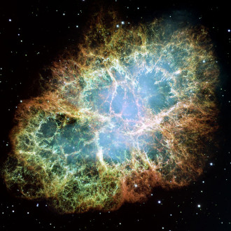 This is a mosaic image, one of the largest ever taken by NASA's Hubble Space Telescope of the Crab Nebula, a six-light-year-wide expanding remnant of a star's supernova explosion. Japanese and Chinese astronomers recorded this violent event nearly 1,000 years ago in 1054, as did, almost certainly, Native Americans.