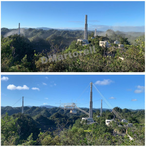 An image of Arecibo before and after its observing platform collapsed. Courtesy Deborah Martorell,