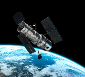 This illustration shows the NASA/ESA Hubble Space Telescope in its high orbit 600 kilometres above Earth. (Credit: European Space Agency)